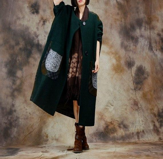 Buddha Trends Green / One Size Lattice Plus Size Wool Coat | Nirvana