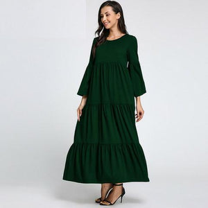 Buddha Trends Green / S Boho Chic Flared Maxi φόρεμα
