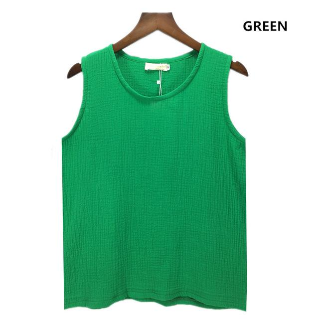 Buddha Trends Green / S Cotton and Linen Plus Size Tank Tops