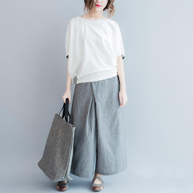 White and Grey Striped Wide Leg Pants