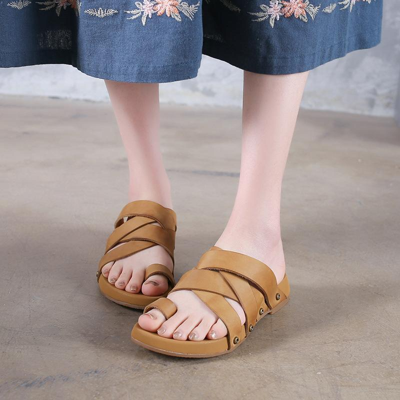 Buddha Trends Handmade Leather Roman Slippers