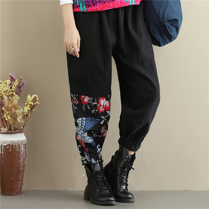 Buddha Trends Harem Pants black / M High Waist Patchwork Floral Trousers
