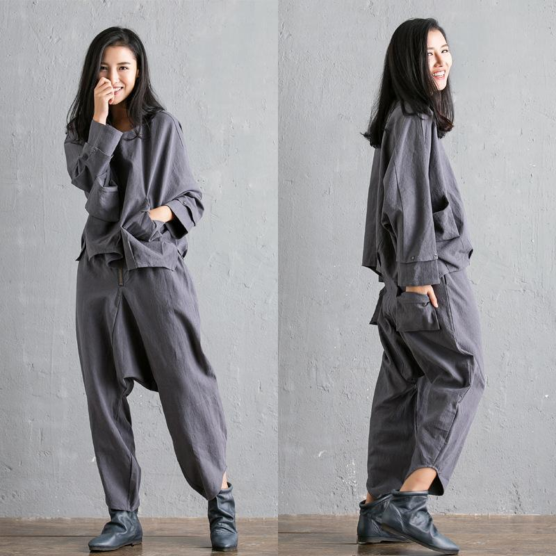 Buddha Trends Harem Pants Gray / One Size Fall Vibes Cotton Linen Two-Piece Suit  | Zen