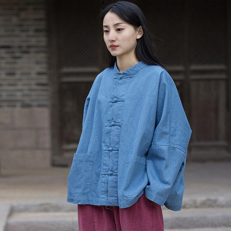 Buddha Trends Jackets Batwing Sleeve Chinese Denim Jacket  | Zen