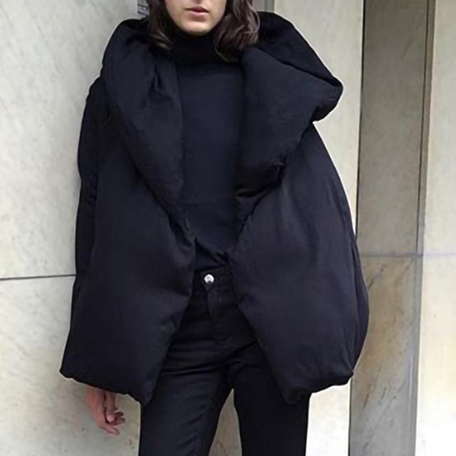 Buddha Trends Jackets Black / M Black Oversized Down Puffer Jacket