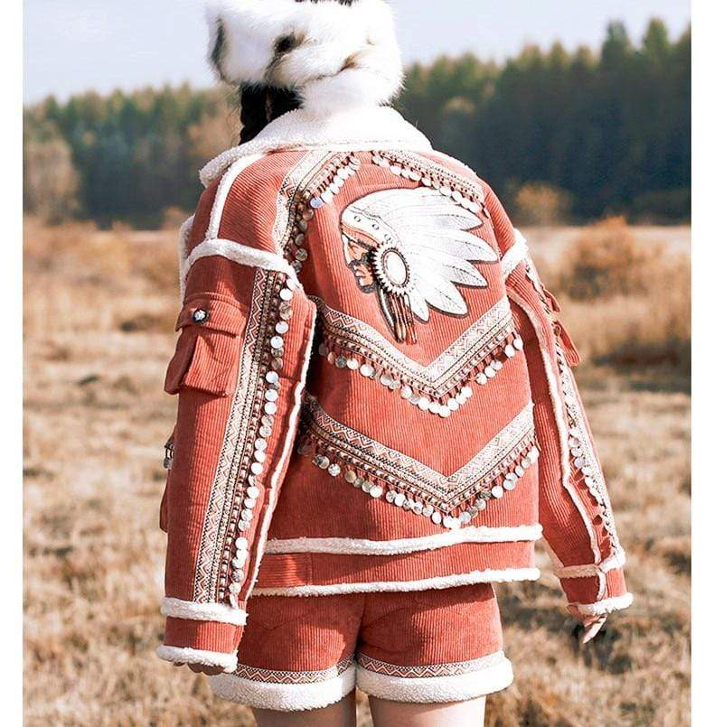 Native Pride Handmade Embroidered Corduroy Jacket | Mandala