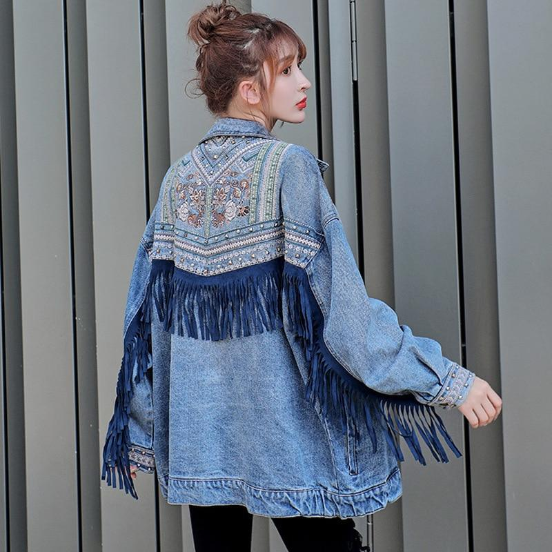 Buddha Trends Jackets Floral Embroidered Fringed Denim Jacket