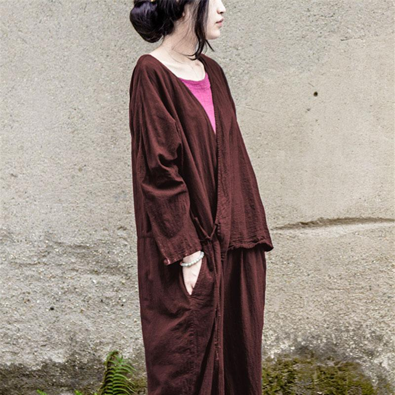 Buddha Trends Jumpsuits Claret / One Size Oversized Linen Jumpsuit | Lotus