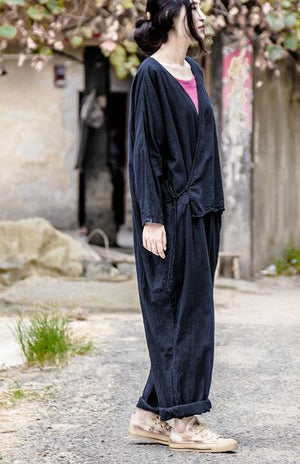 Buddha Trends Jumpsuits Dark blue / One Size Oversized Linen Jumpsuit | Lotus
