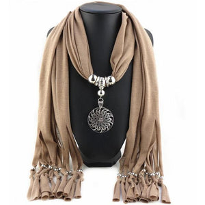 Buddha Trends Khaki Hollow Circle Flower Purple Scarf Necklace
