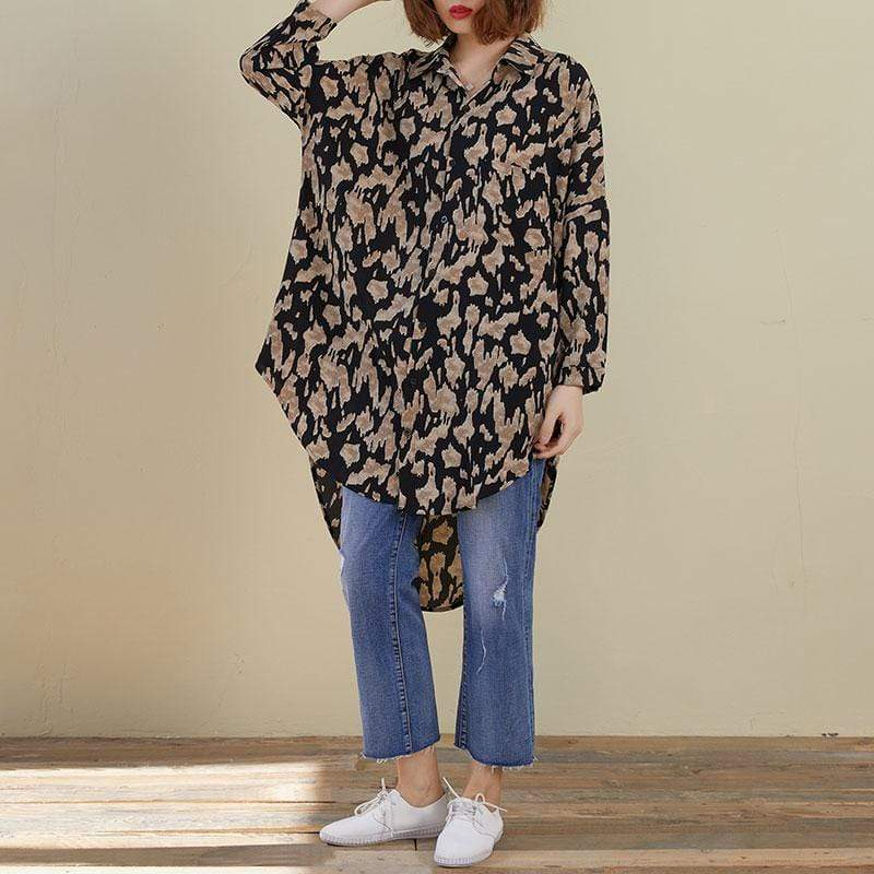 Leopard Print Long Oversized Shirt