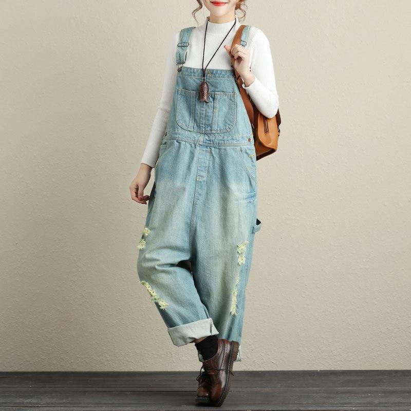 Buddha Trends Hellblau / One Size Loose Ripped Denim Overall