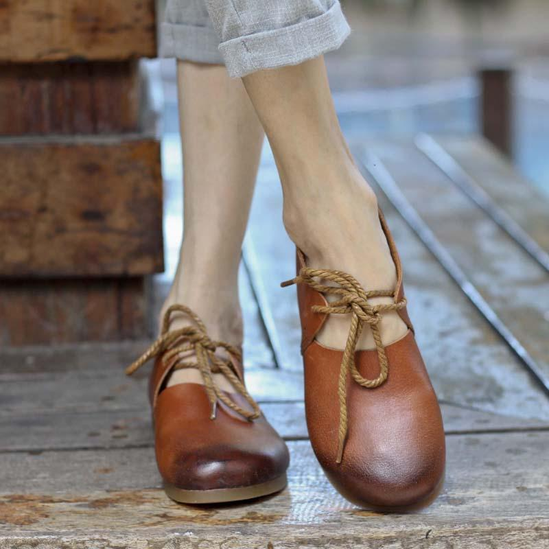 Buddha Trends Light Brown / 4.5 Lace up Handmade Genuine Leather Flats