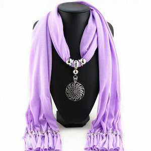 Buddha Trends Light Purple Hollow Circle Flower Purple Scarf Necklace