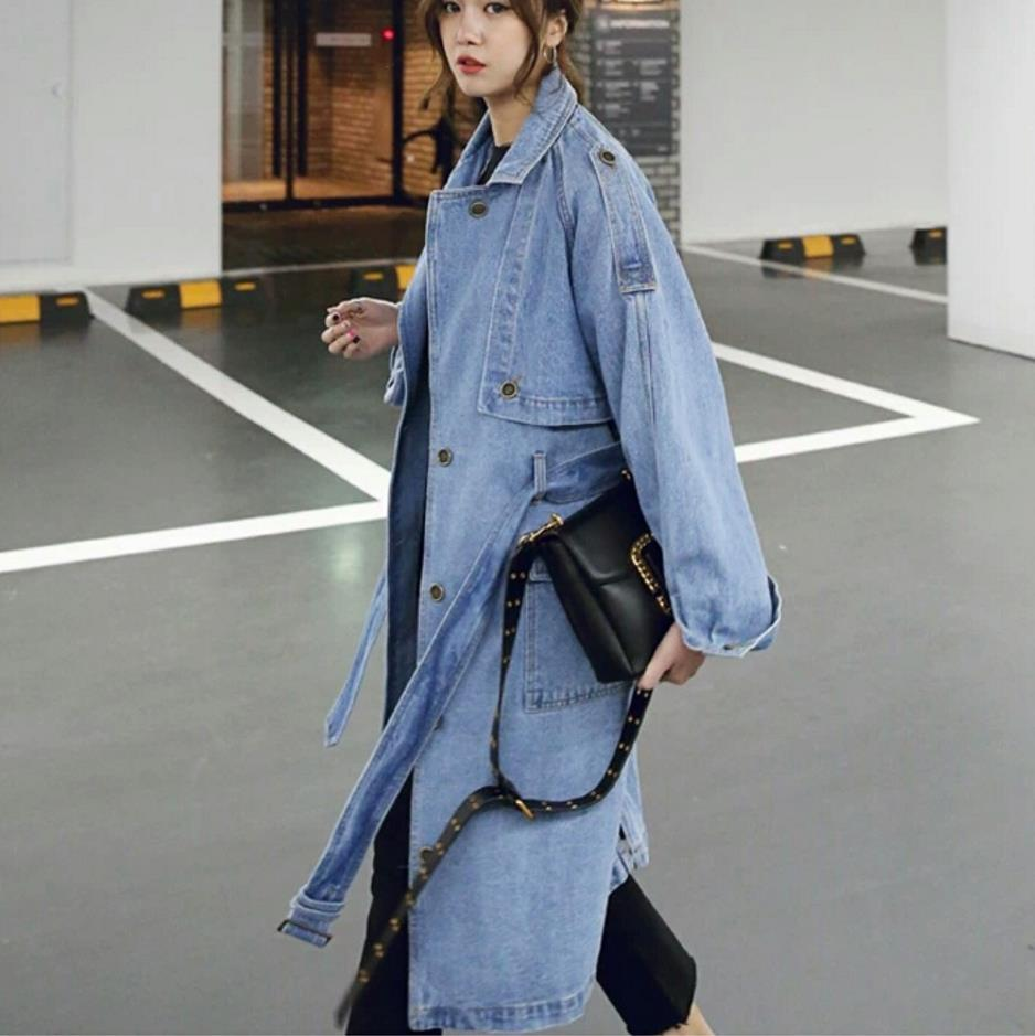 Buddha Trends Long Oversized Denim Trench Coat