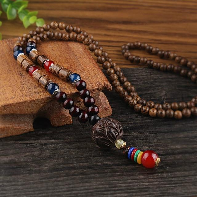 Buddha Trends Lotus Flower Wooden Mala Beads Necklace