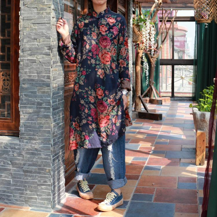 Buddha Trends Mandarin Collar Floral Long Shirt  | Zen