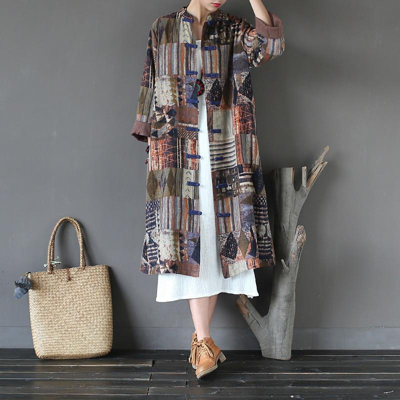 Buddha Trends Multi Brown / One Size Patchwork Prints Chinese Linen Trench Coat