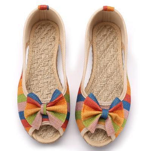 Buddha Trends Multicolor / 5 Rainbow Striped Peep Toe Linen Chaussures