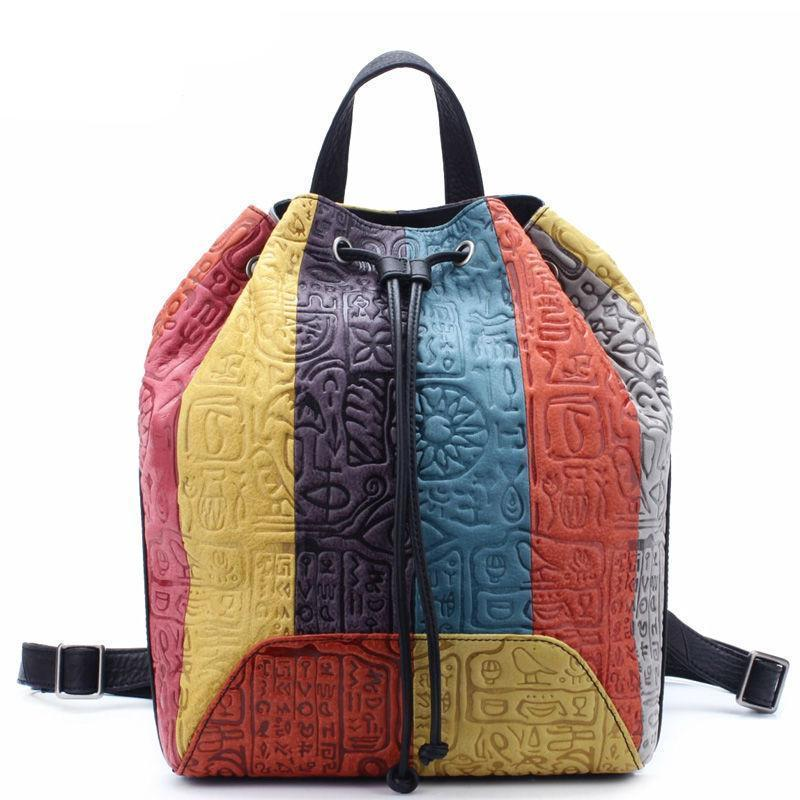Buddha Trends Multicolor Black Colorful Leather Embossed String Backpack