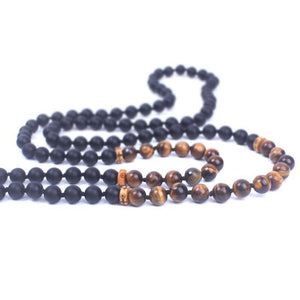 Buddha Trends Natural Matte Black Onyx and Tiger eye Mala Beads