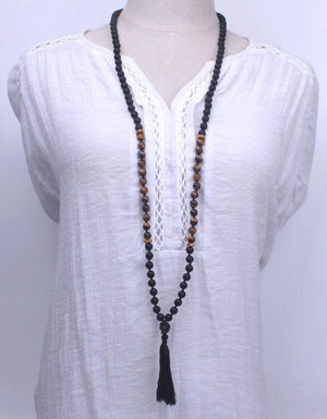 Natural Matte Black Onyx and Tiger eye Mala Beads