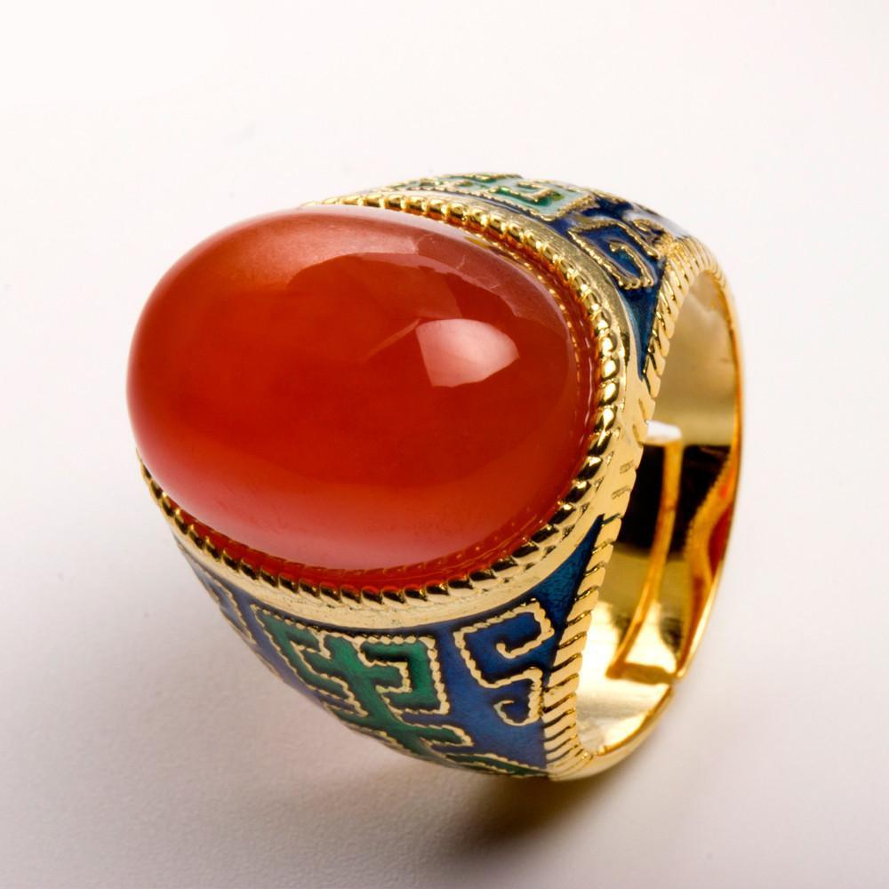 Buddha Trends Natural Red Agate Large Silver Ring