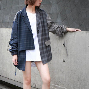 Buddha Trends Navy Blue / L Asymmetrical Plaid Jacket | Millennials