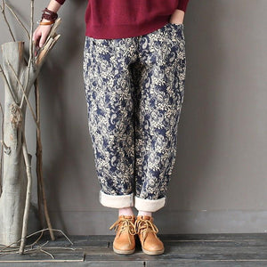 Buddha Trends Navy Blue / One Size Paisley Pattern Rolled Up Pants | Ζεν
