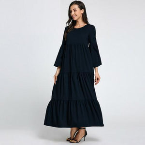 Buddha Trends Navy Blue / S Boho Chic Flared Maxi φόρεμα