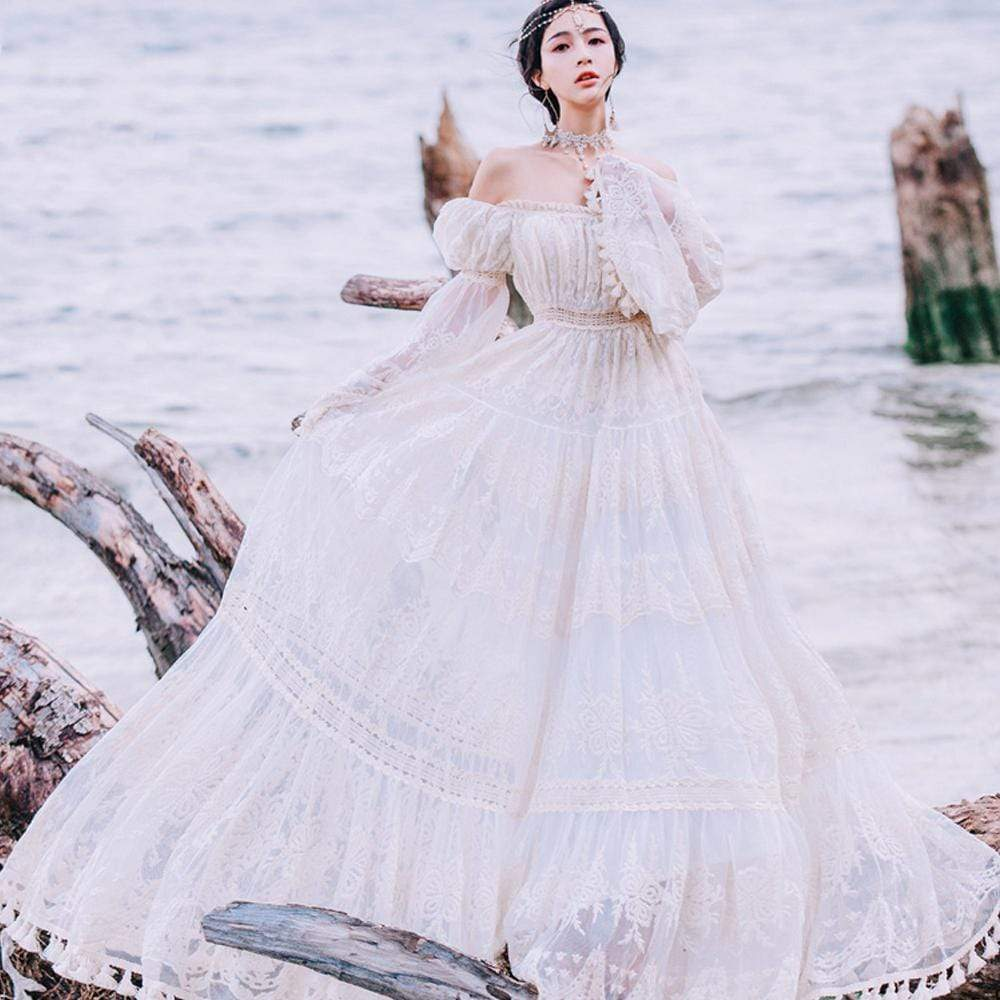 Off Shoulder Bohemian Wedding Dress | Mandala