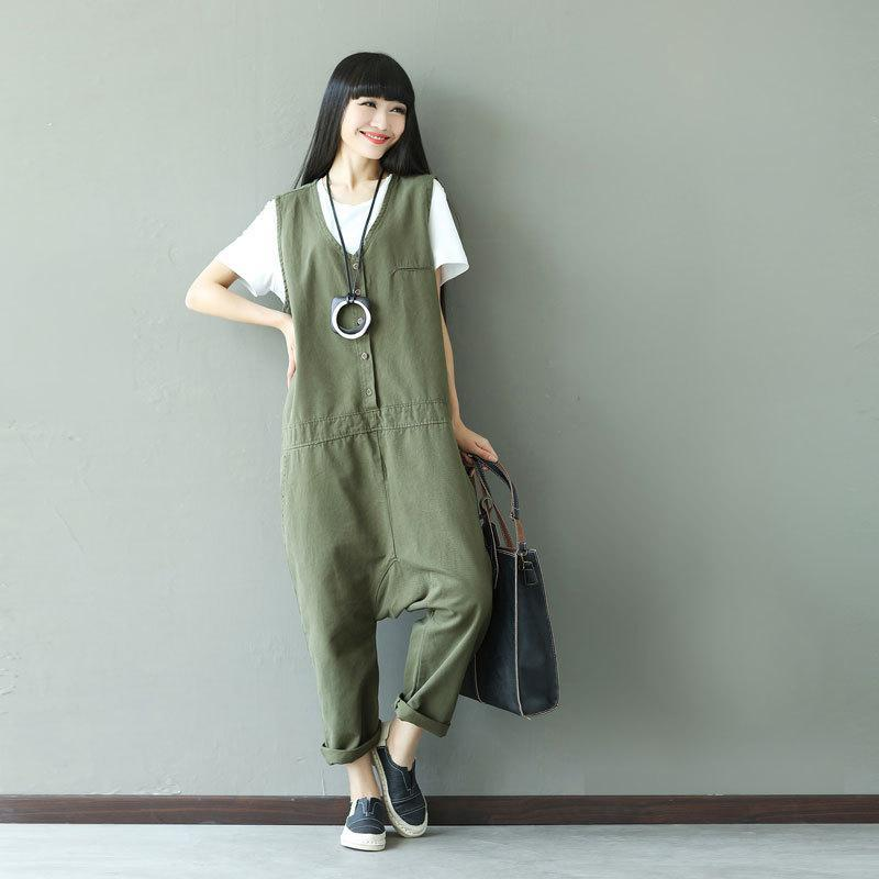 Buddha Trends One Size / Army Green Army Green Lose Overall für Frauen