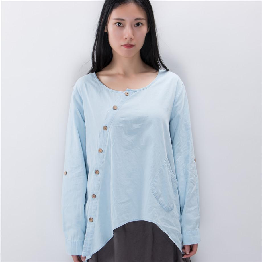 Buddha Trends One Size / Baby Blue Baby Blue Button Up Shirt  | Zen
