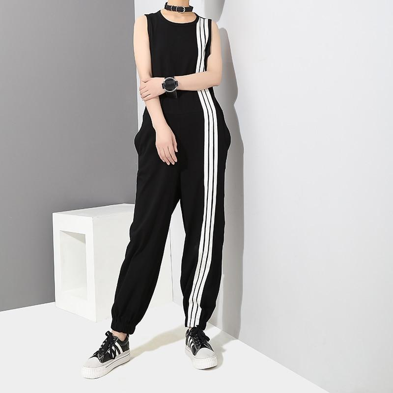 Buddha Trends One Size / Black and White Korean Style Black and White Striped Overall | Millennials