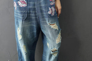 Buddha Trends One Size / Blue Blumendrucke Loose Plus Size Floral Denim Overall