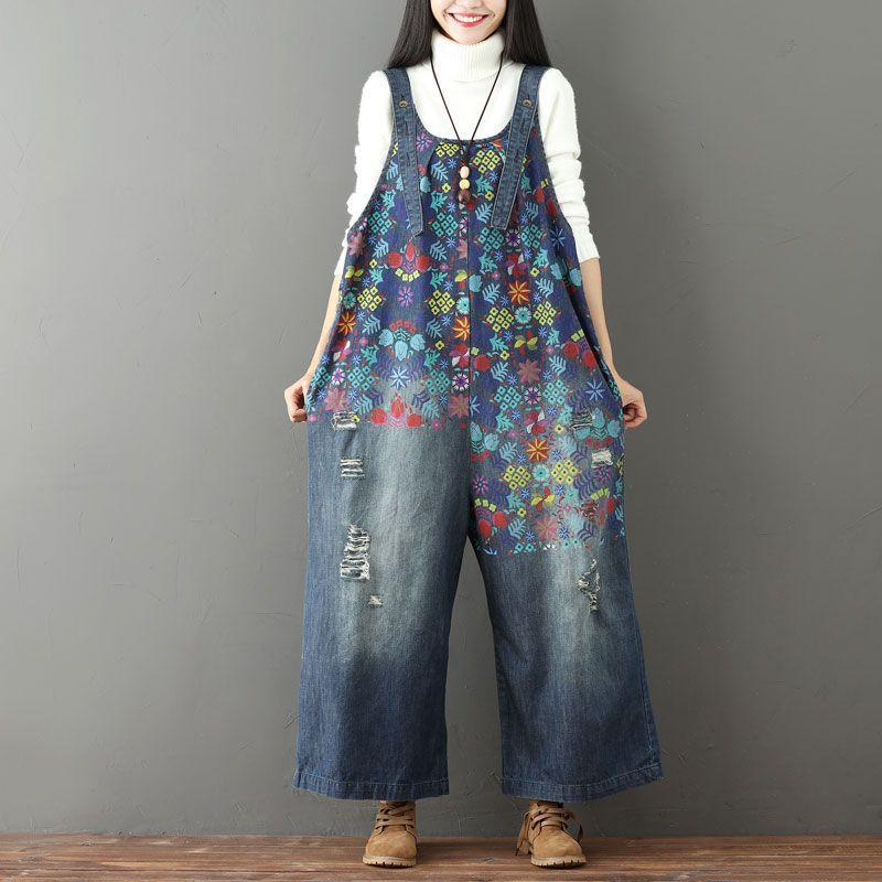 Buddha Trends One Size / Blue Floral Vintage 90s Overall