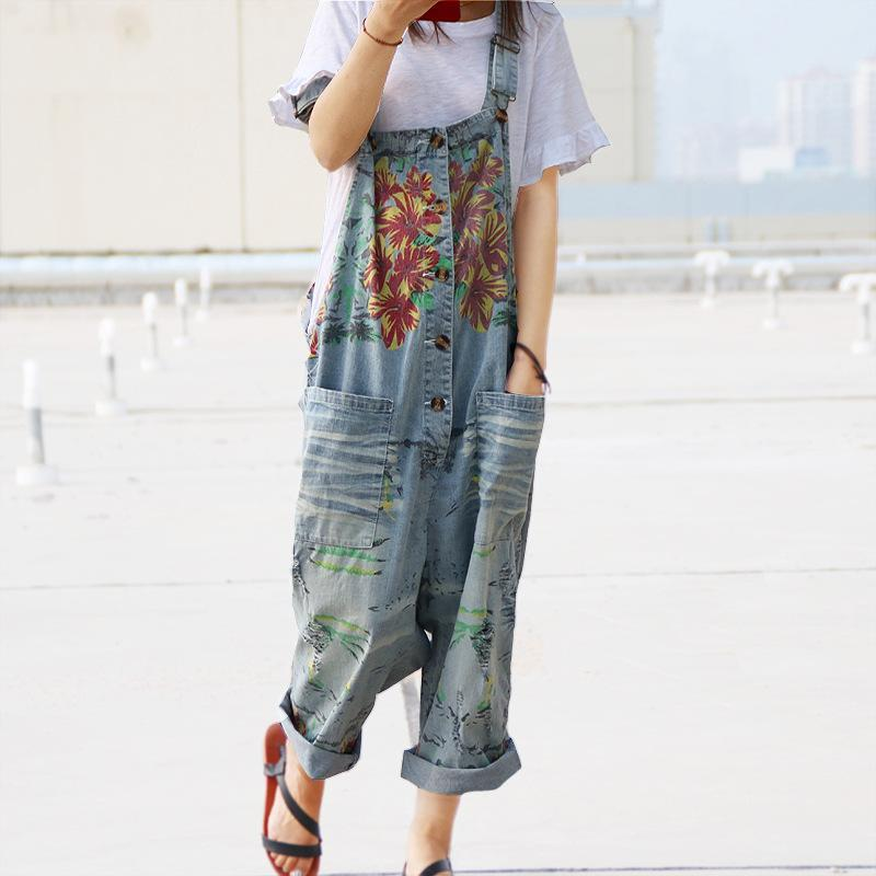 Buddha Trends One Size / Blue Loose Floral Denim Overall