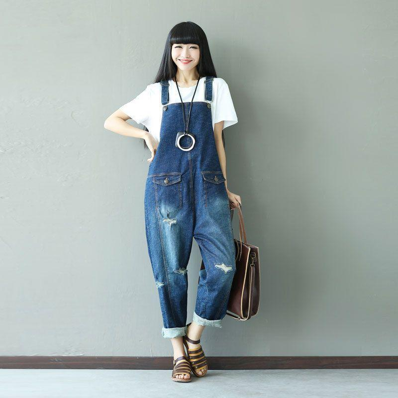 Buddha Trends One Size / Blue Ripped Baggy Denim Overall