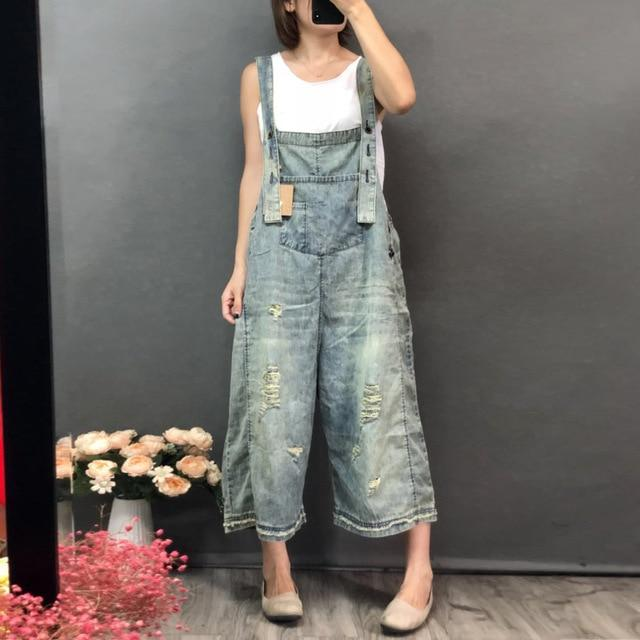 Buddha Trends One Size / Light Blue 3/4 Length Boyfriend Ripped Denim Overall