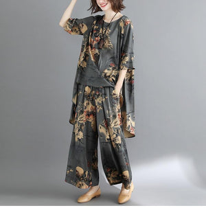 Buddha Trends One Size / Multi Grey Feelings Floral OOTD Σετ τοπ και κάτω