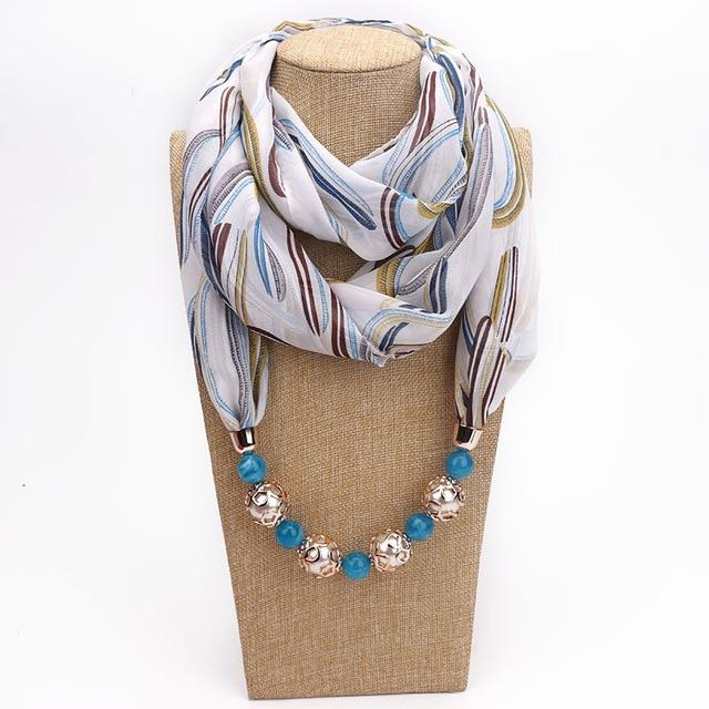 Buddha Trends One size / Multicolor Abstract Leaves Chiffon Beaded Scarf Necklace