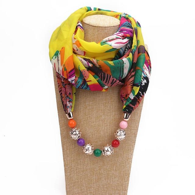 Buddha Trends One Size / Multicolor Afrikana Chiffon Beaded Scarf Necklace