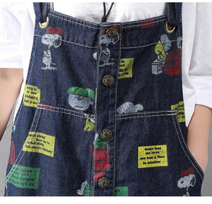 Charlie Brown und Snoopy 90er Denim Overalls