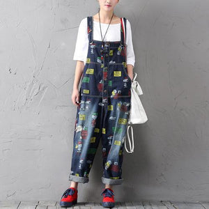 Buddha Trends One Size / Multicolor Charlie Brown und Snoopy 90er Denim Overalls
