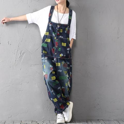 Buddha Trends One Size / Multicolor Charlie Brown and Snoopy 90's Denim Overalls