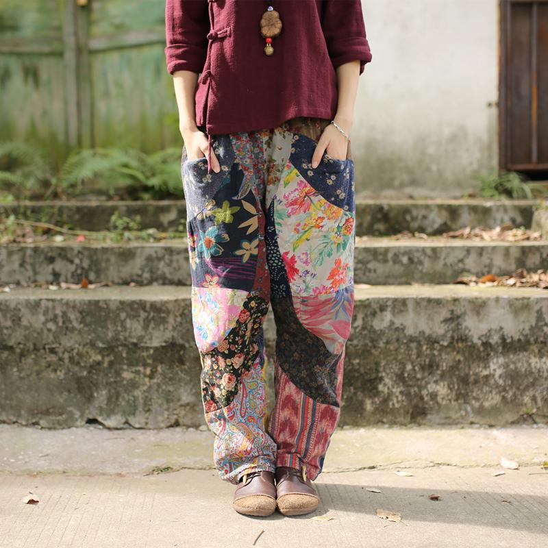 Buddha Trends One Size / Multicolor Floral Patchwork Linen Hippie Pants