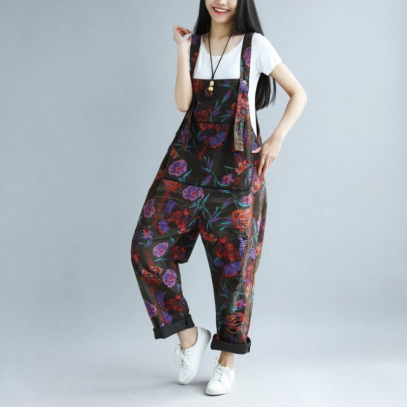 Buddha Trends One Size / Multicolor Floral Printed Loose Denim Overall