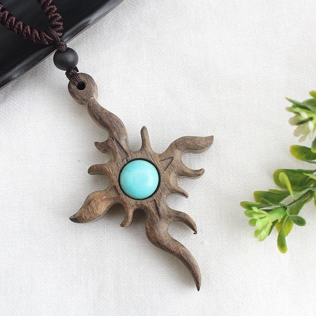 Buddha Trends One Size / Sandalwood Abstract Sun Vintage Sandalwood Pendant Necklace
