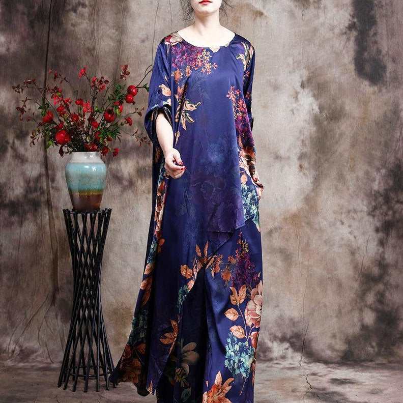 Buddha Trends OOTD 2 Piece Set - Floral Oversized Tunic with Palazzo Pants