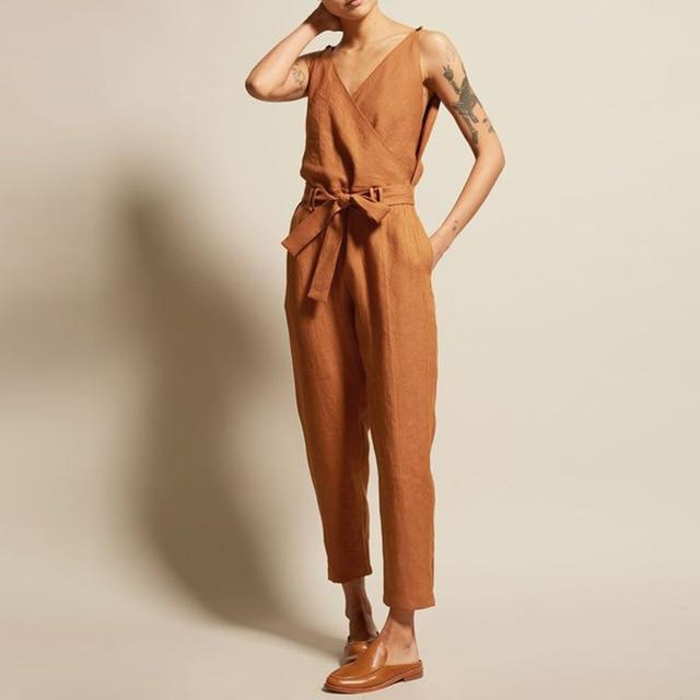 Buddha Trends Orange / S Casual Chic V Neck αμάνικο Συνολικά